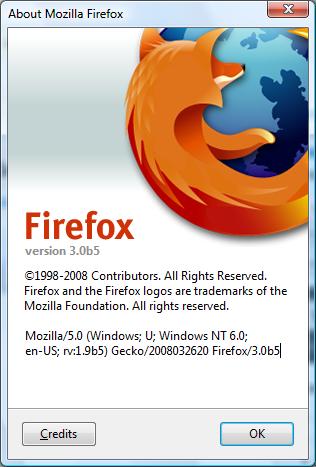 Firefox 3 About dialog penceresi